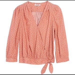 Madewell Wrap Top - Star Scatter in Coral - NWOT